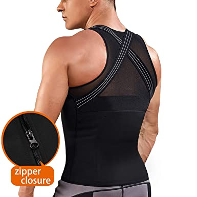 bf0de780e7808 TAILONG Mens Back Braces Body Shaper Tank Top Compression Shirt Tummy  Trimmer Abs Slim Underwear Vest Girdle Tights
