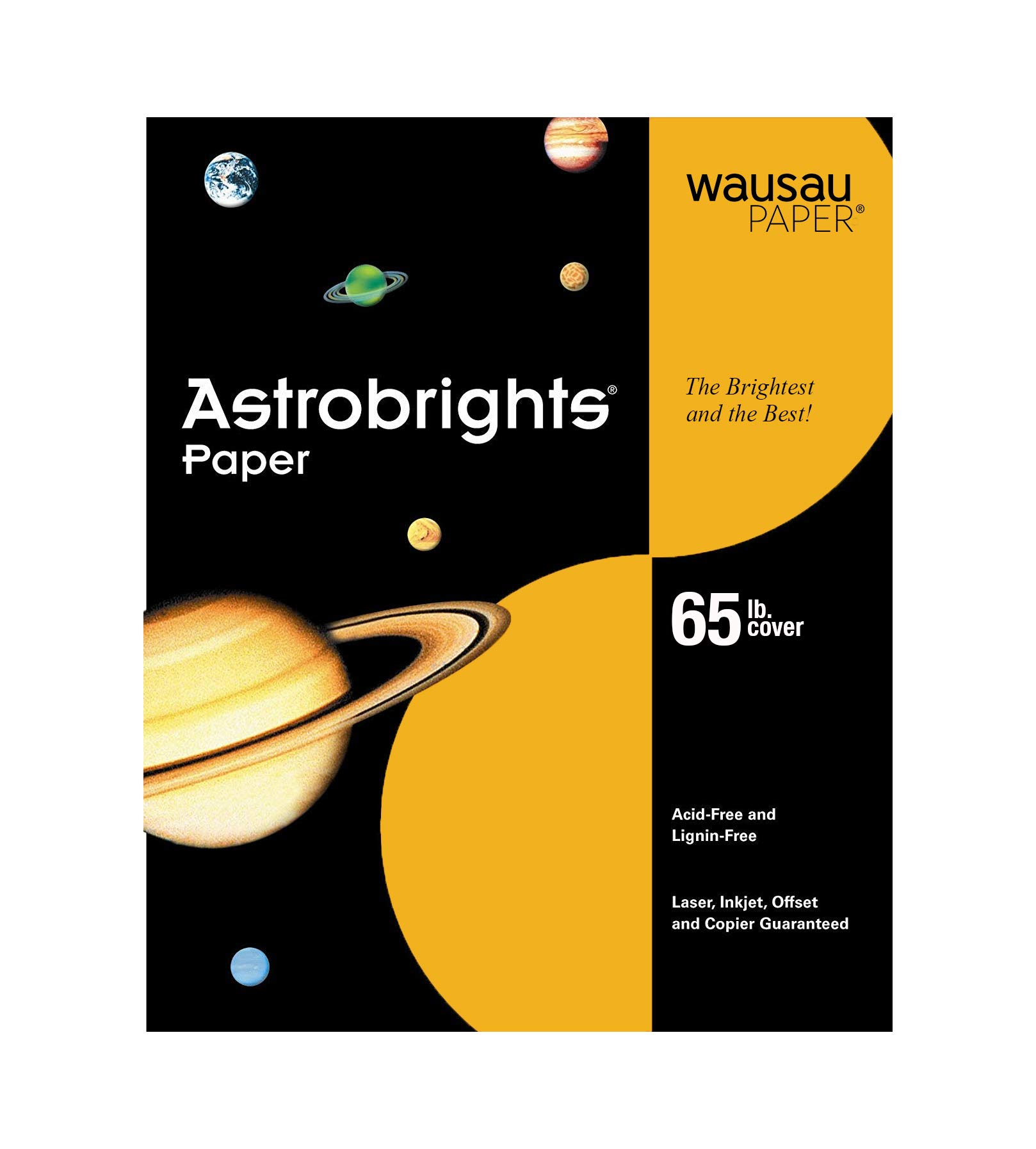 Wausau Astrobrights Premium Paper, 65 lb, 8.5 x 11 Inches, Galaxy Gold, 50 Sheets (22771)
