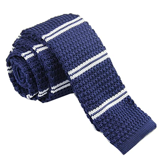 Drite Navy Blue White Striped Mens Slim Skinny Knit Knitted Tie