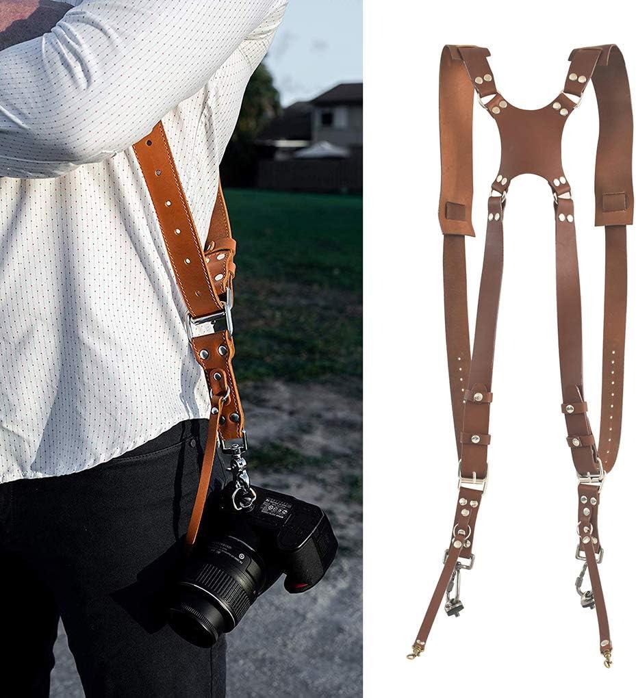 Republe Cam/éra Cam/éra r/églable Harnais Double /épaule en lappareil d/épaule Cuir Bandouli/ère Photographie Accessoires
