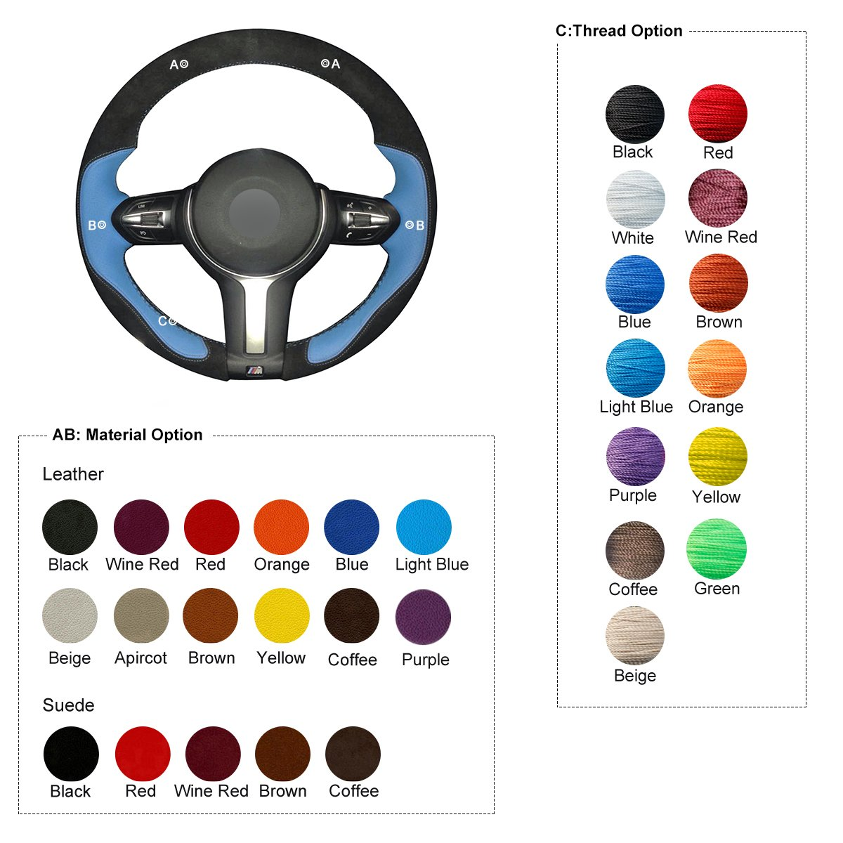 MEWANT Hand Sewing Custom Black Genuine Leather Auto Steering Wheel Cover for BMW F87 M2 2015-2017 F80 M3 2014-2017 F82 M4 M5 F12 F13 M6 F85 X2 X5 M F86 X6 M F33 F30 M Sport