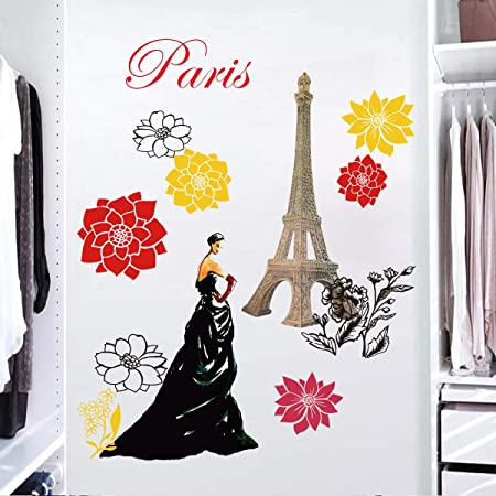 Decalmile Stickers Muraux Tour Eiffel Fleurs Autocollant