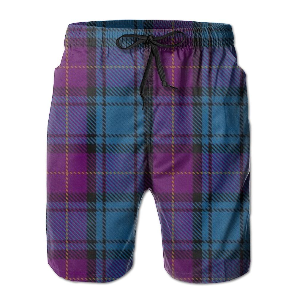 JDHFAF Purple Lattice Mens Beach Board Shorts Quick Dry Summer Casual Swimming Soft Fabric with Pocket