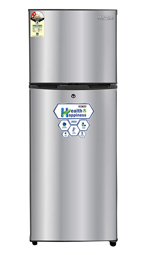 Mitashi 145 L 2 Star Direct-Cool Double-Door Refrigerator (MiRFDDP2S145v20, Silver) Refrigerators at amazon