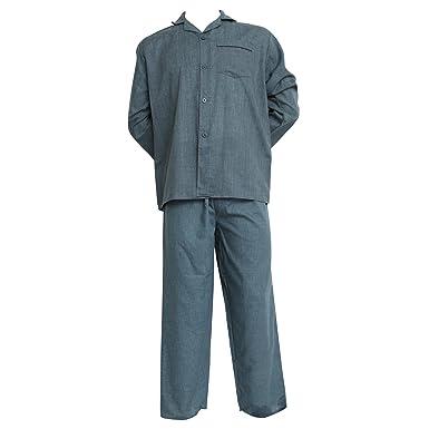 bb3c88c0ab Universaltextilien Herren Pyjama/Schlafanzug, Oberteil mit Knöpfen, Langarm  (L Brust 107cm x