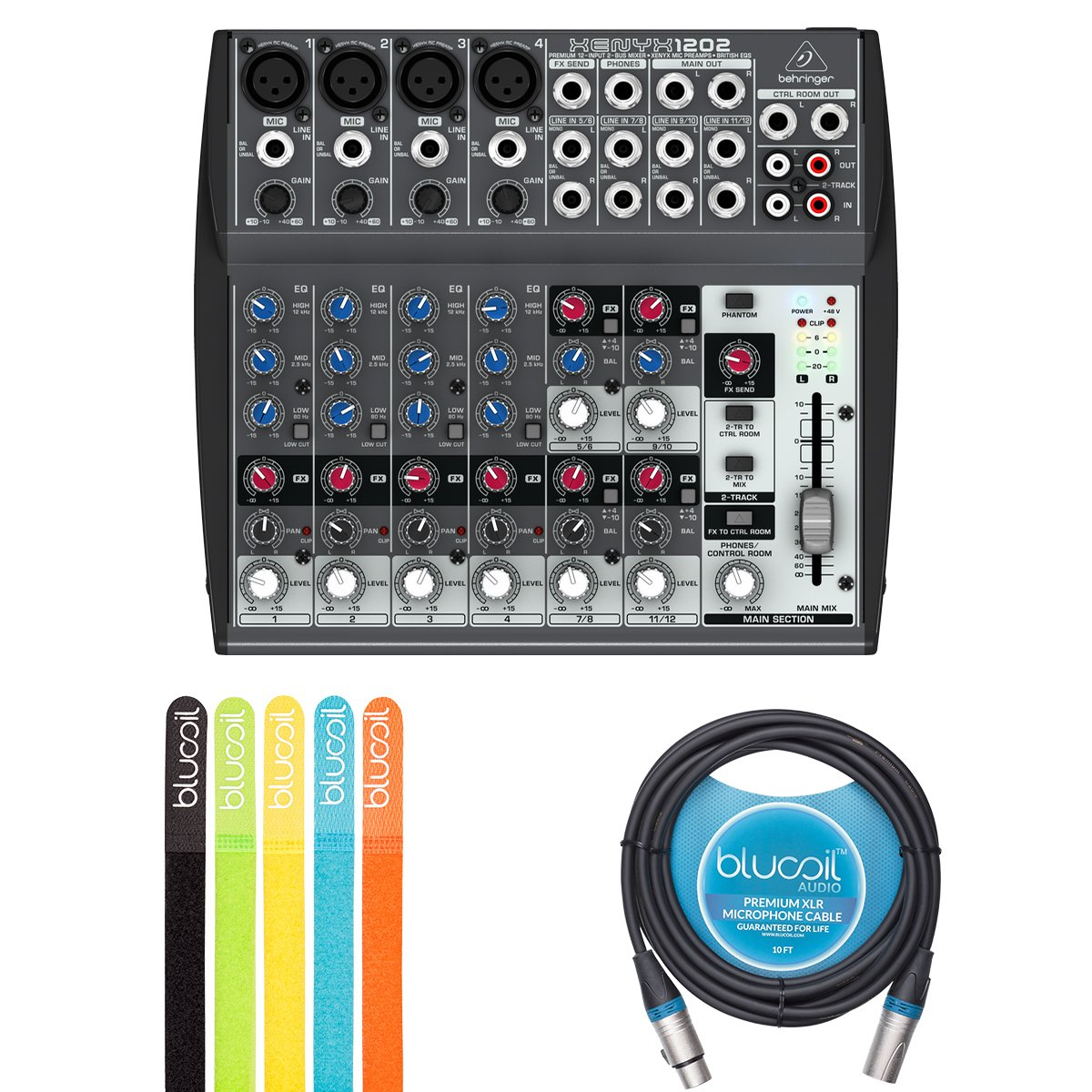Behringer XENYX 1202 2-Bus Mixer with Mic Preamps, 3-Band EQ BUNDLED WITH Blucoil 10-Ft Balanced XLR Cable AND 5 Pack of Cable Ties by blucoil