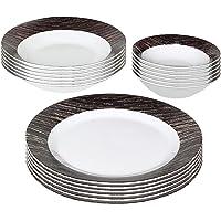Shallow Porcelain Round Dinner Set, Multi-Colour, GP-18-DS(D3), 18 Pcs