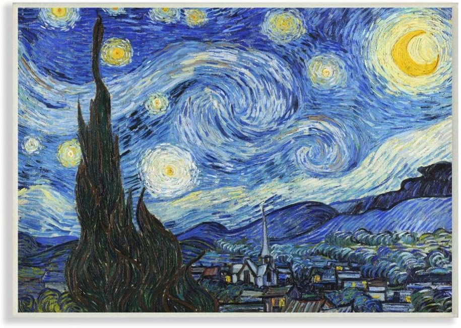 Stupell Industries Van Gogh Starry Night Post Impressionist Painting Wall Plaque, 10 x 15, Multi-Color