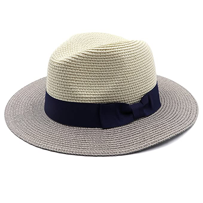 6dc4a52df32 Womens Foldable Summer Straw Panama Sun Hat Fedora Retro Multicolor Jazz  Beach Cap with Neck Cord