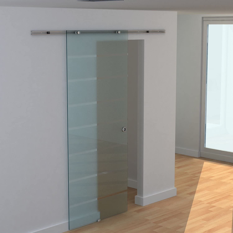 Homcom - Puerta corredera con raíles de 2 m, puerta de cristal y raíl de aluminio: Amazon.es: Bricolaje y herramientas
