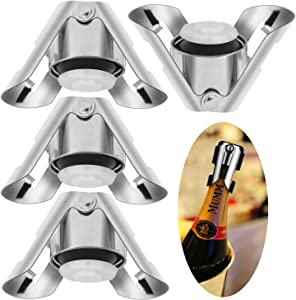 Xuheng Champagne Stoppers Stainless Steel Wine Bottle Plug Expanding Beverage Bottle Stopper Reusable Champagne Saver Bottle Sealer with Sealing Plug Keeps Wine Fresh(set of 4)