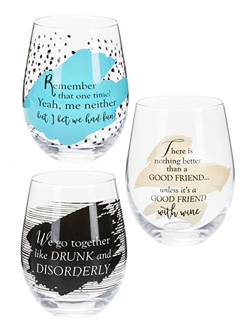 a59ff865435 Amazon.com | Besties Wine Glasses (Set of 3): Wine Glasses