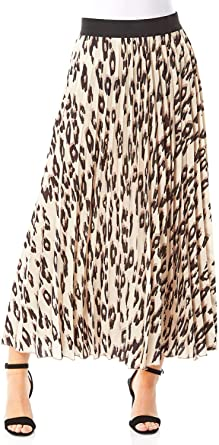 Ladies Leopard Everyday Casual Holiday Summer Floaty Elasticated Midi Maxi Length Contrast Waistband High Rise Skirts Roman Originals Women Animal Print Pleated Skirt