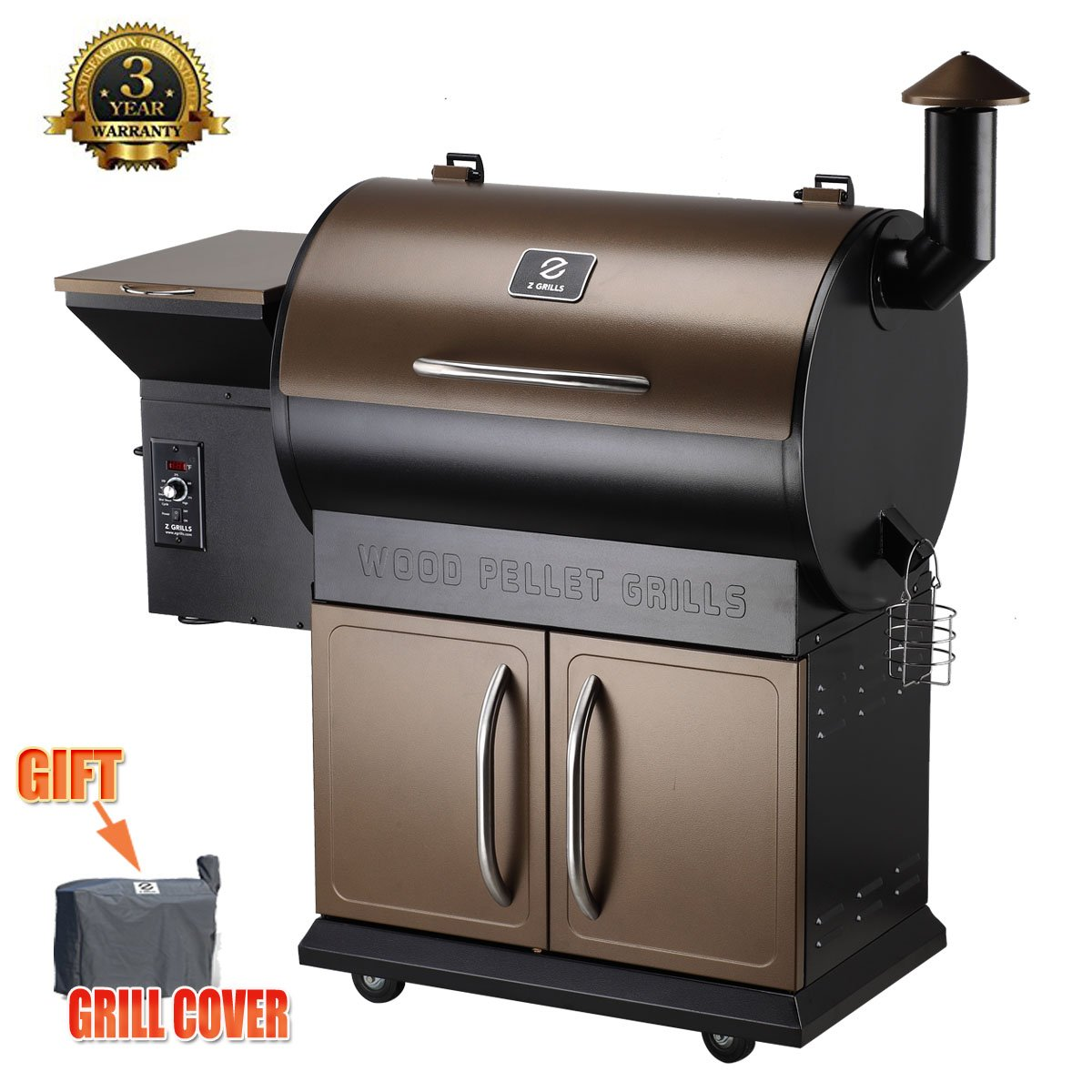 Z Grills Wood Pellet Grill & Smoker with Patio Cover,700 Cooking Area 7 in 1- Grill, Smoke, Bake, Roast, Braise and BBQ with Electric Digital Controls for Outdoor (Black and Bronze) by Z Grills