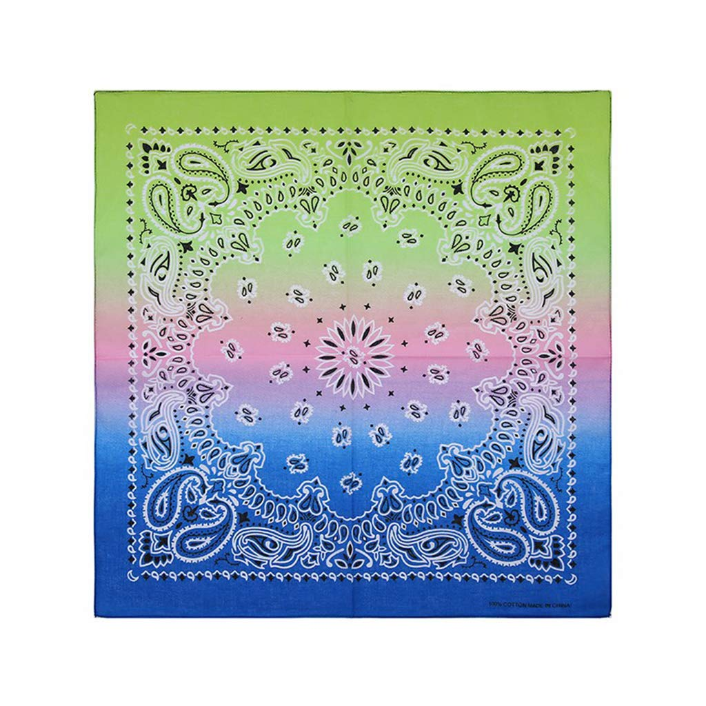 VIccoo Headband Bandana 1# Rainbow Gradient Color Double Paisley Floral Print Unisex Cotton Pocket Square Scarf Headband Bandana Hip-Hop Wristband Neck Tie