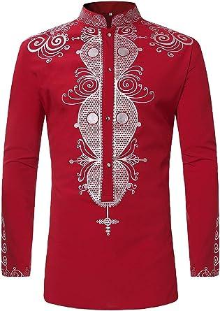 Lymoo - Camisetas africanas de manga larga para hombre Rojo rosso XL: Amazon.es: Ropa y accesorios
