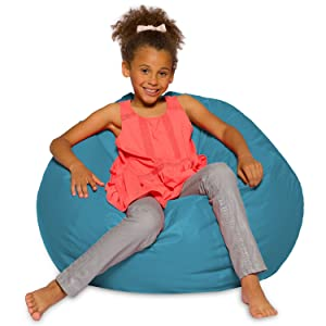 Big Comfy Bean Bag Chair: Posh Large Beanbag Chairs with Removable Cover for Kids, Teens and Adults - Polyester Cloth Puff Sack Lounger Furniture for All Ages - 27 Inch - Heather Teal