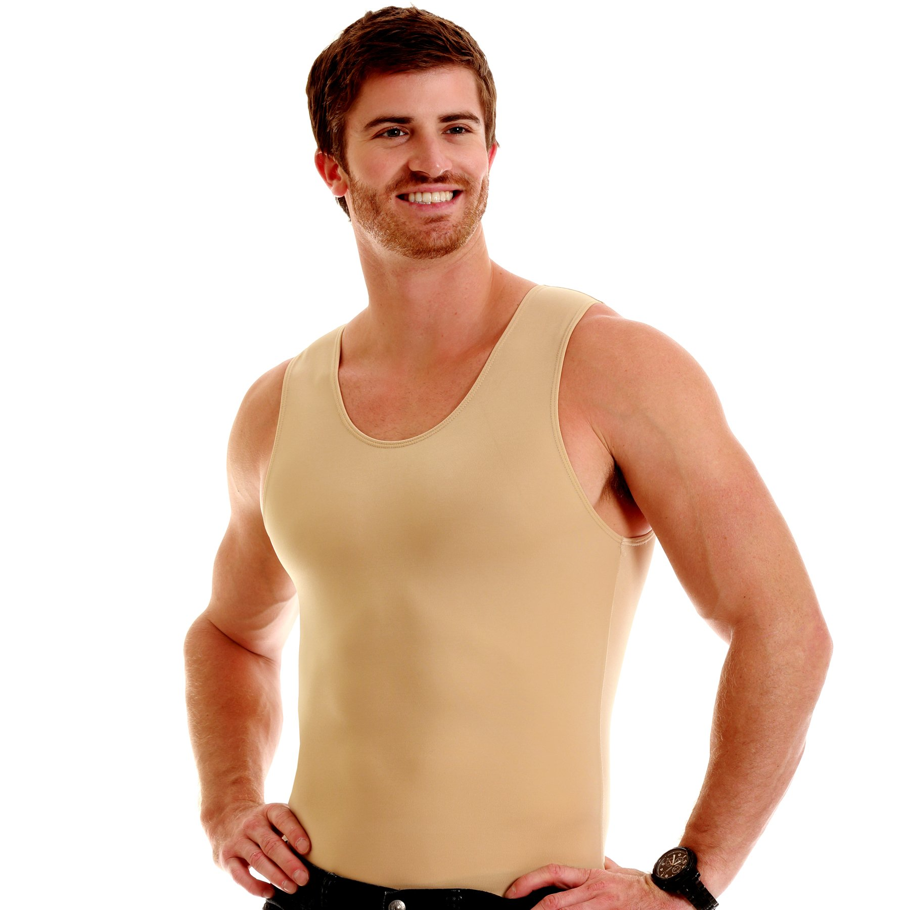 Insta Slim 3 Pack Muscle Tank, Look Up to 5 Inches Slimmer Instantly, Nude, Large, The Magic is in The Fabric! by Insta Slim (Image #1)