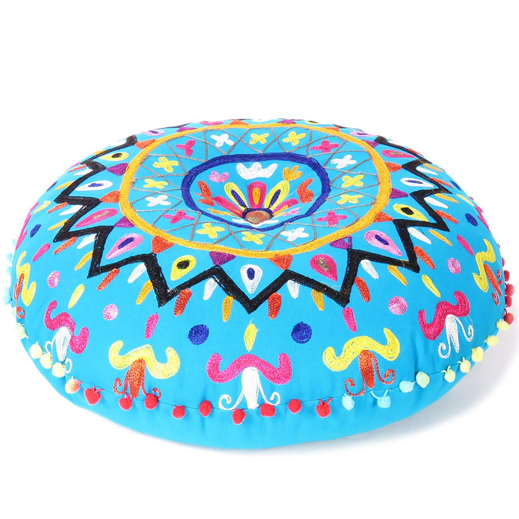 24 Pink Embroidered Floor Seating Meditation Pillow Cushion Throw Cover Bohemian Boho Eyes of India