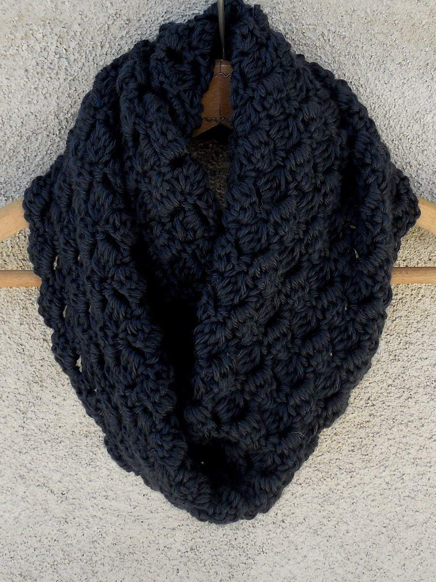 Amazon Black Warm Criss Cross Cowl Scarf Crochet Handmade Handmade