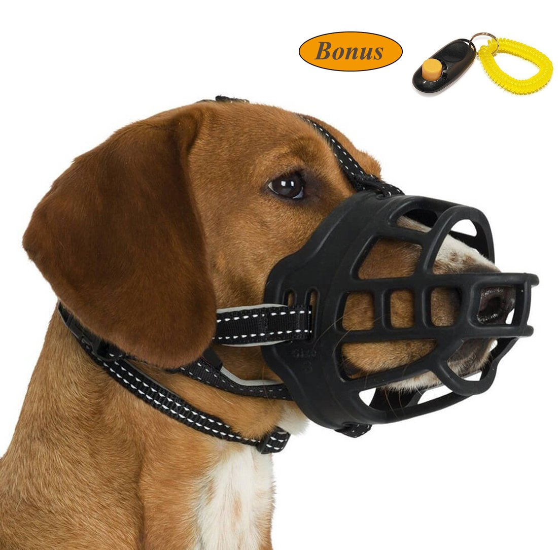 JeonbiuPet Dog Muzzle, Silicone Adjustable Basket Muzzle for Dog Anti-chewing and Anti-Barking Allows Drinking and Panting by (Size 4)