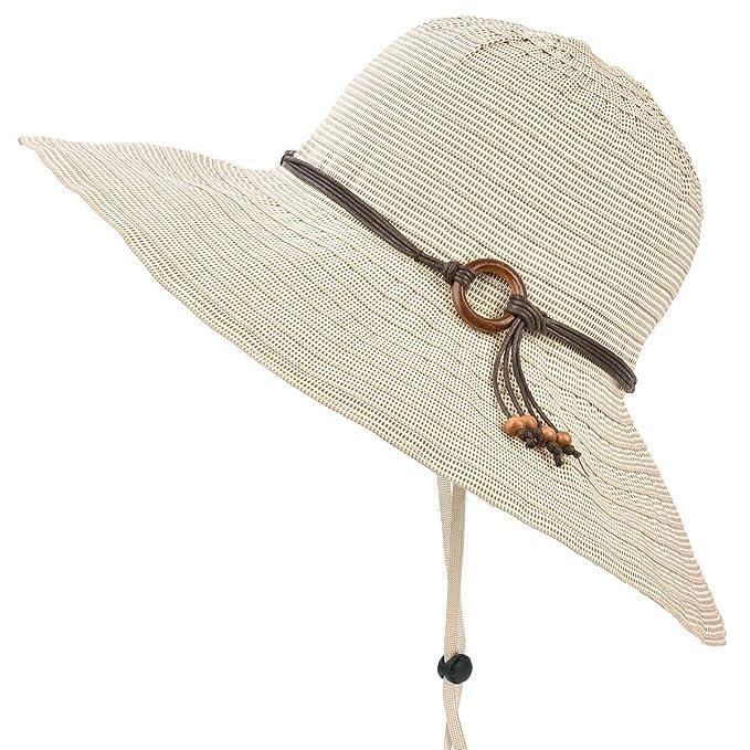 c2740fdf ENJOYFUR Wide Brim Sun Hats for Women Foldable Summer Beach Hats UPF 50+  Packable Travel