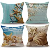 CARRIE HOME Nautical Coastal Decor Starfish/Seashell/Sand/Beach House Decorative Throw Pillow Covers 18 x 18 Inch for Party, 4 Pack