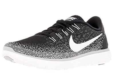 promo code 54344 54873 Nike Womens Free Rn Distance Black/White/Dark Grey/Wlf Grey Running Shoe 5  Women US