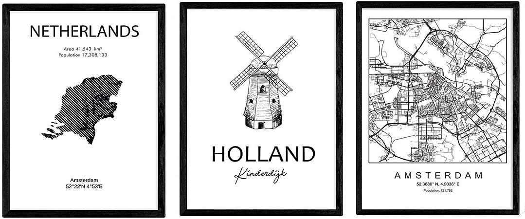 Pack de Posters de Paises y monumentos. Mapa cuidad Amsterdam ...