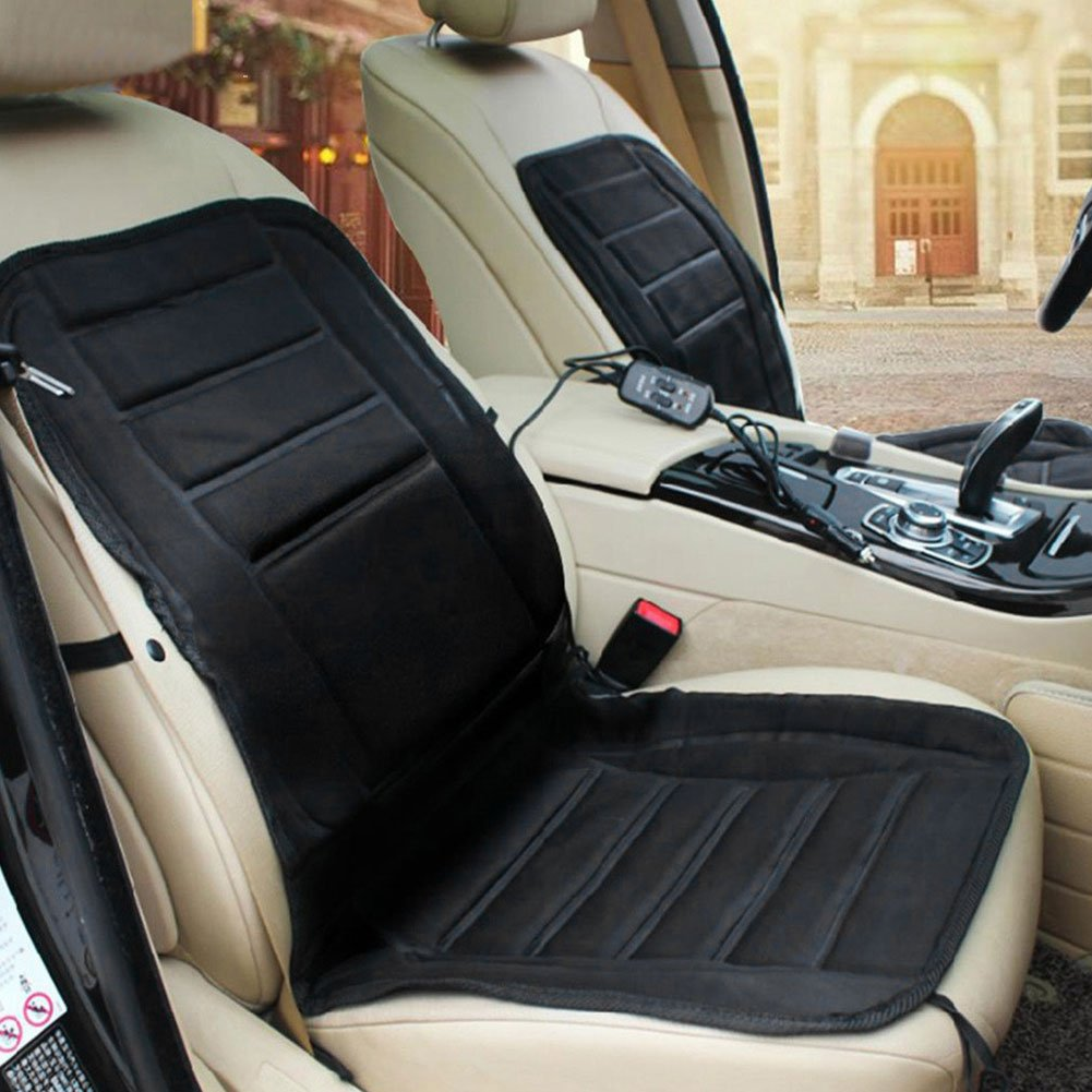 12V Heated Element Thermal Cusion Front Padded Seat Cover For Ford