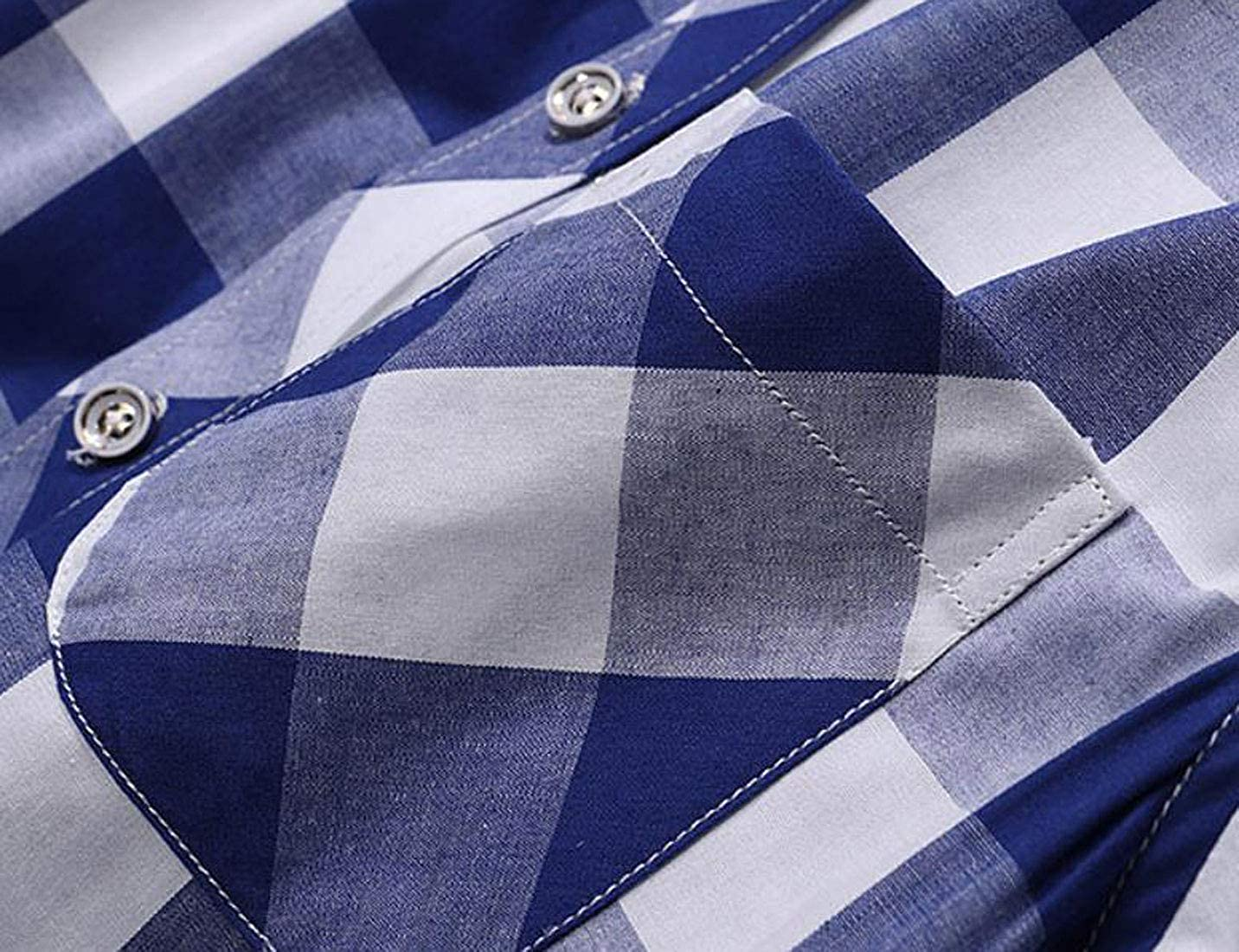 XTX Mens Classic Version Casual Plaid Short Sleeve Summer Shirt Linen Cotton
