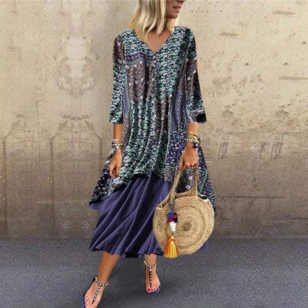 EDTO Womens Short Sleeve Maxi Dresses Casual Long Dresses with Pockets Sleeve Long Dress