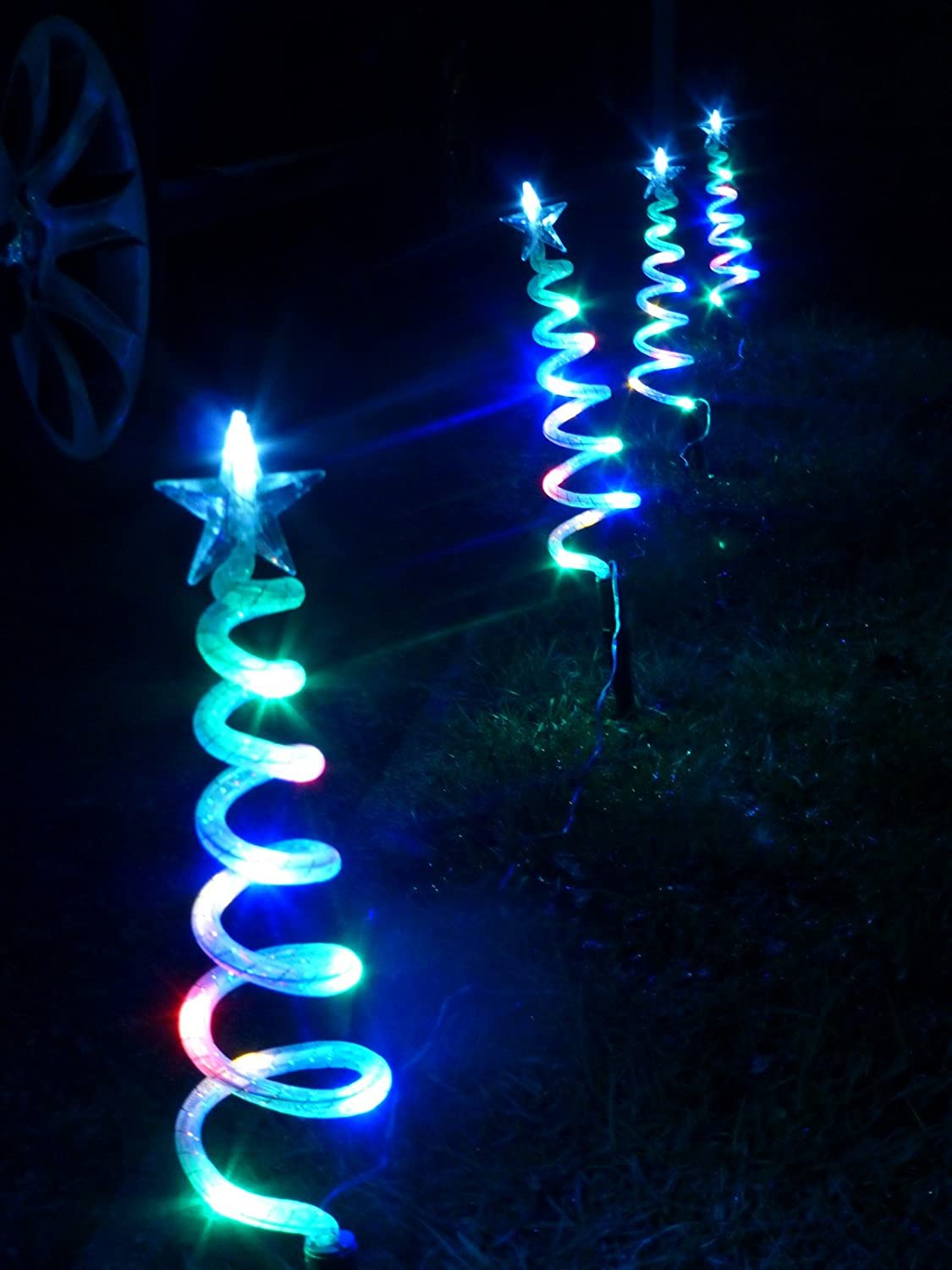 Christmas Decorations - Multi-Coloured Christmas Trees Pathway ...