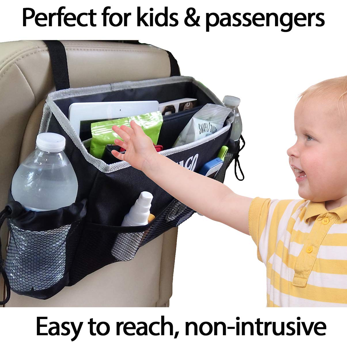 JACO HangPro Car Seat Organizer - Premium Seat Back / Front Seat Travel Caddy by JACO Superior Products