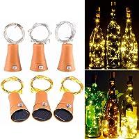 Muasdae 6 Pack Warm White Solar Wine Bottle Lights, Bottle Cork 10 LED Fairy String Lights White Solar Lights for Party…