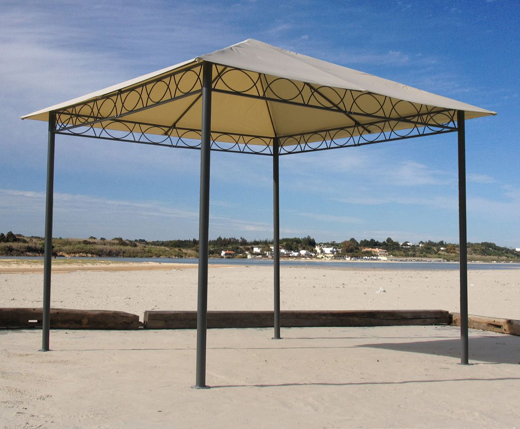 Grasekamp Stil Pavillon 3x3m, sand