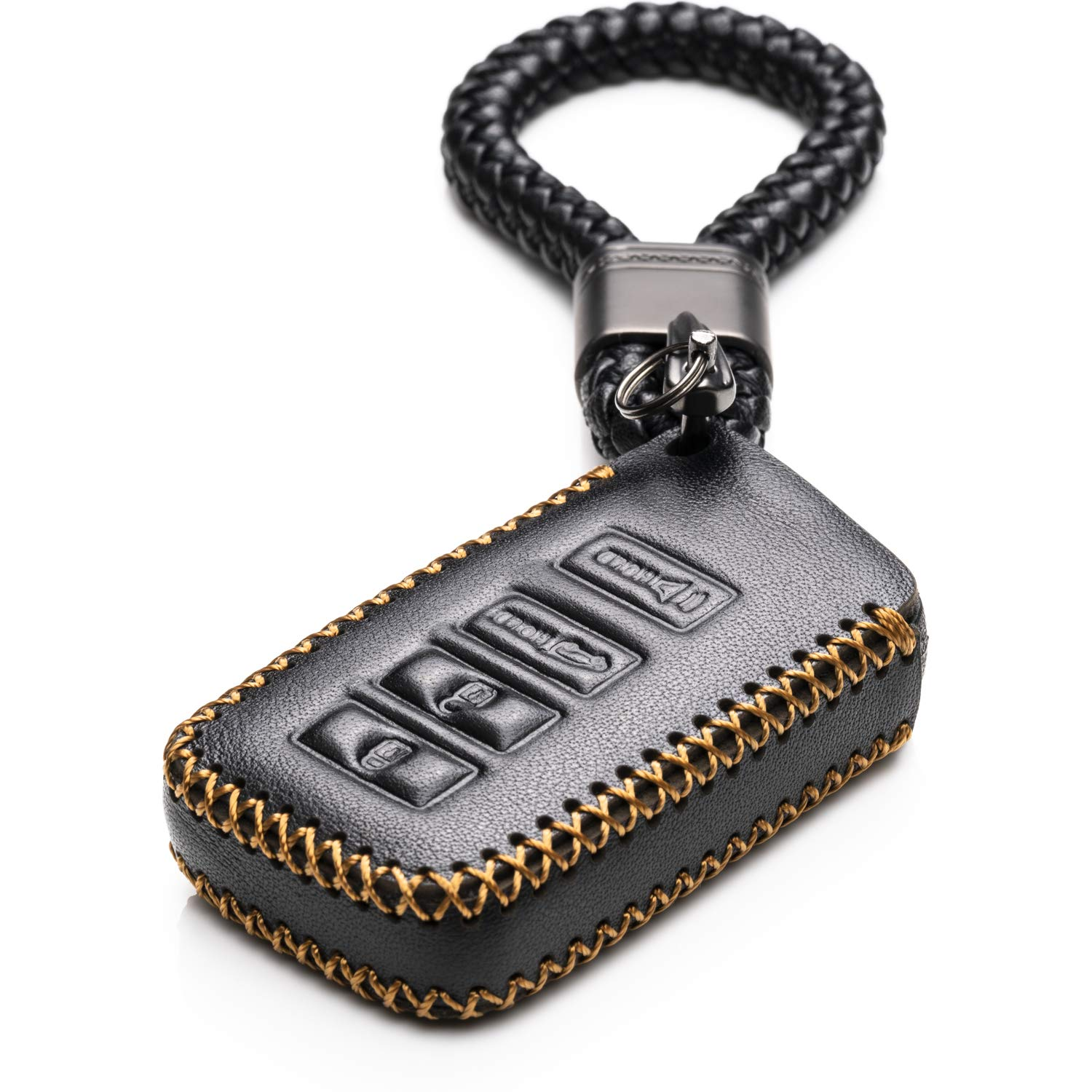 Black Vitodeco 4 Buttons Leather Keyless Entry Remote Control Smart Key Case Cover with a Key Chain for Lexus