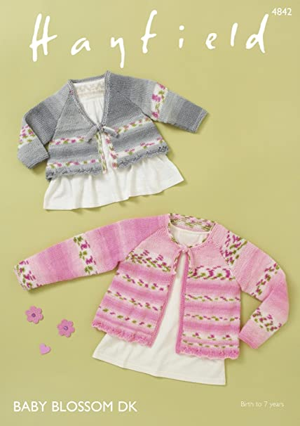 54eccd3ea Sirdar 4842 Knitting Pattern Baby Girls Round and V Neck Tie ...