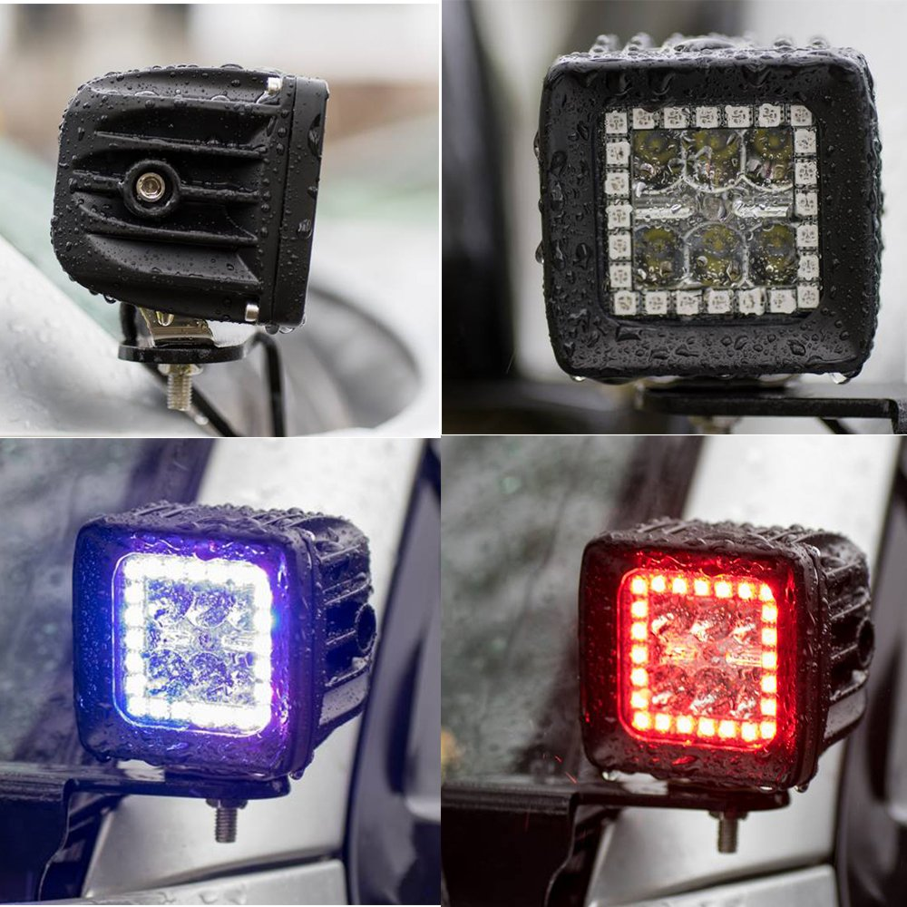 Nicoko 3 18w Cree Led Work Light Bars Prebuit With Rgb 52quot 300w 100led Driving Bar Fog Lightswiring Harness Halo Ring Spot Beam 30 Degree Waterproof For Off Road Truck Car Atv Suv Jeep Boat 4wd