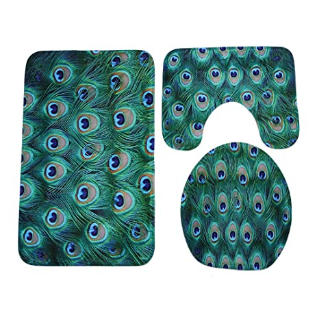 Charmant WCHUANG Peacock Bathroom Rug Decorative Bath Rugs   Non Slip Non Slip Bath  Mat, Set