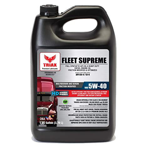 Triax Fleet Supreme ESP 5W-40 Ultimate Full Synthetic - Friction Modified - API CK