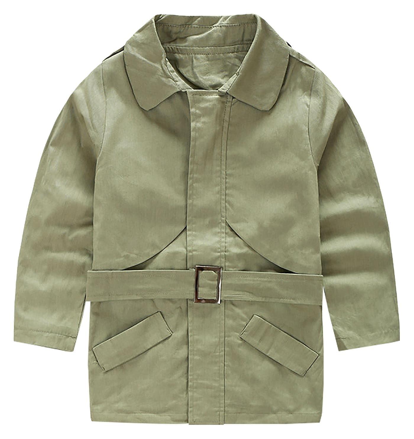 309e2b6646de Amazon.com  Aivtalk Boys Trench Coat with Belt Winter Hand Pockets ...