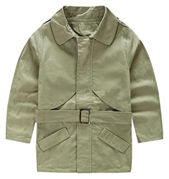 b6bc5c89e376 Amazon.com  Aivtalk Boys Trench Coat with Belt Winter Hand Pockets ...