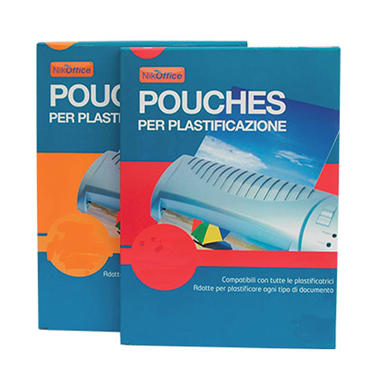 100 POUCHES PER LA PLASTIFICAZIONE 125 MICRON A4 21.6x30.3 CM lucide per plastificatrice