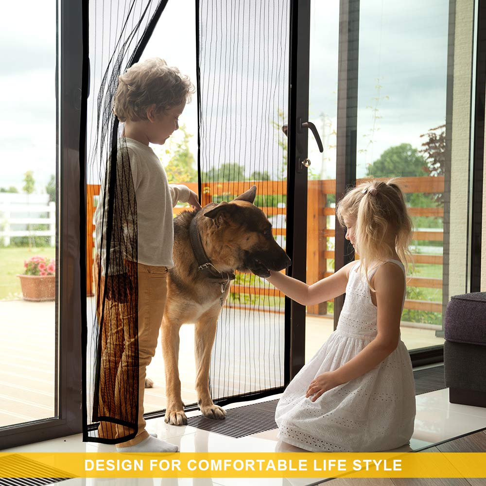 Titan Mall Magnetic Screen Door with Super Tight Self Closing Magnetic Seal and Durable Polyester Mesh, Full Frame Mounting Tape, Fits 39\