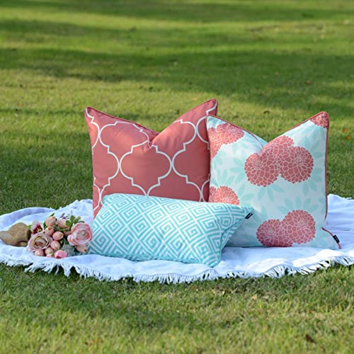 Hofdeco Spring Indoor Outdoor Pillow Cover ONLY, Water Resistant for Patio Lounge Sofa, Aqua Coral Pink Moroccan Maze Floral, 18 x18 20 x20 12 x20 , Set of 3