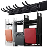 Wallmaster Garage Storage Tool Organizer System Heavy Duty Tools Wall Mount Rack Hanger with 6 Hooks 48inch Tracks Max…
