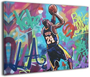 Ko-be-Bryant Canvas Wall Art Abstract Print Home Decor - Forever Mamba LA #24 Basketball Picture Paintings Mourning Artwork for Living Room Bedroom Decoration Framed Poster Ready to Hang 12x16 In