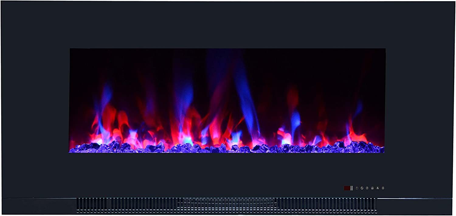 """Touchstone ValueLine 42"""" 10-Color, Flush-Mount Wall Electric Fireplace, 42 Inch Wide, Logset & Crystal, 1200W Heat (Black)"""