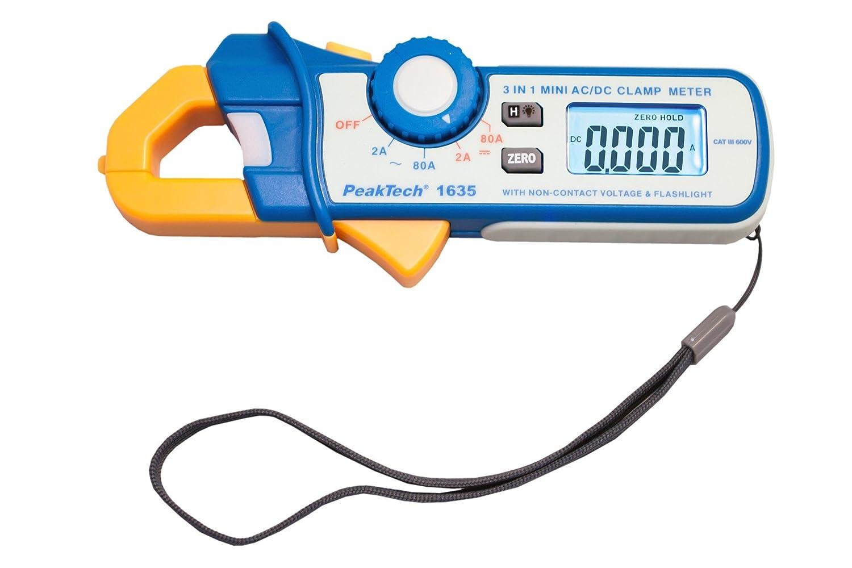 PeakTech P 1635 corriente amperí metro/kriechstrom Alicate/diferencial Pinza amperimé trica/Pinza amperimé trica con 1 mA Resolució n 2400 cuentas, 2 A/80 a ac dc con LED linterna y ncv-116